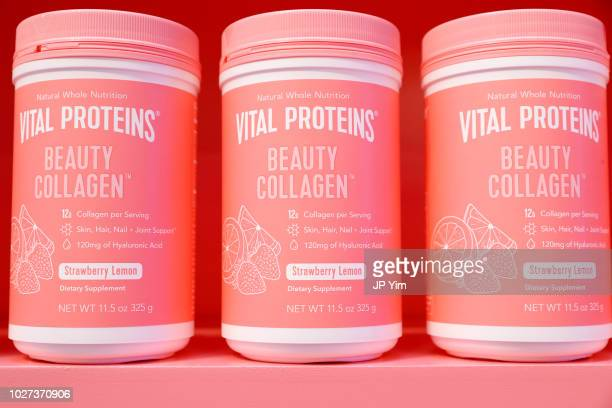 A view of the Vital Proteins' Beauty Collagen products during the Vital Proteins Launches Feed Your Beauty Popup Store in Soho NYC on September 5...