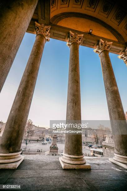 view of the vittorio square from the grandmother's church - veneto stock pictures, royalty-free photos & images