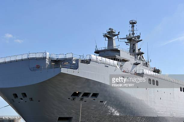 A view of the Vladivostok warship a Mistral class LHD amphibious vessel ordered by Russia at the STX France shipyard in SaintNazaire northwestern...