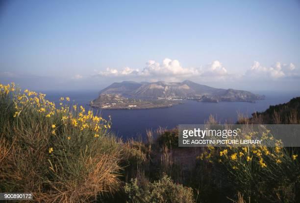 View of the Vulcano Island from Punta del Perciato, Lipari Island, Aeolian islands , Sicily, Italy.