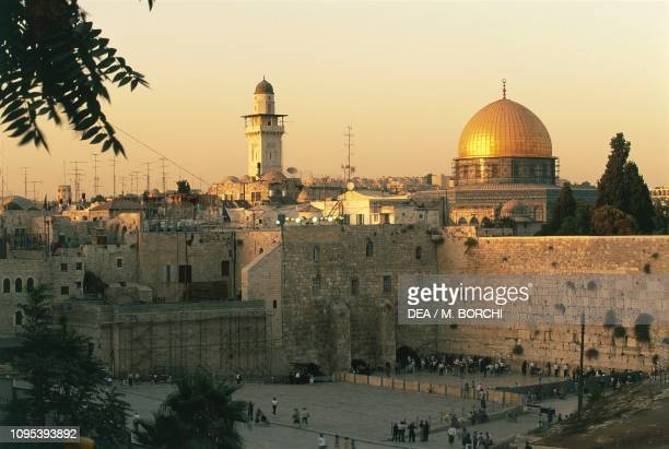 View of the Wailing wall and the Dome of the Rock, Old City of Jerusalem , Israel.
