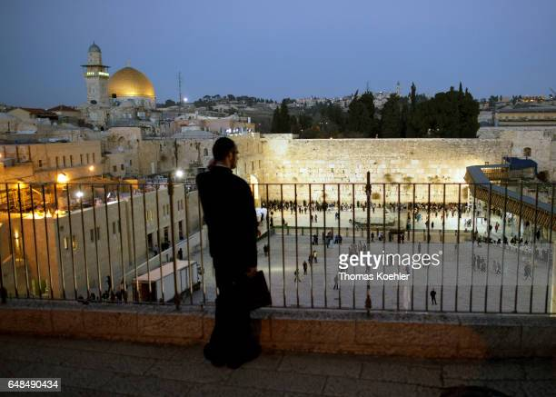 View of the Wailing Wall Temple Mount and Dome of the Rock historic city center of Jerusalem on February 08 2017 in Jerusalem Israel