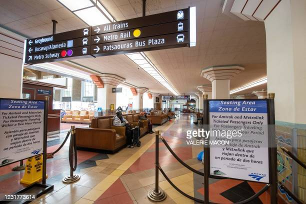 View of the waiting area of the Union Station, downtown L.A. Where part of the Oscars Ceremony will take place Sunday, April 25, In Los Angeles,...