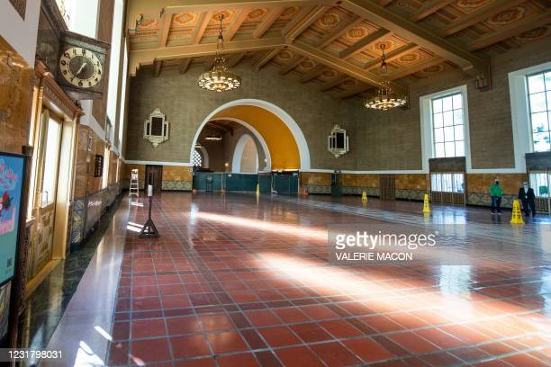 View of the waiting area under construction at the Downtown Los Angeles Union Station on March 18 where part of the 2021 Oscars Ceremony will take...