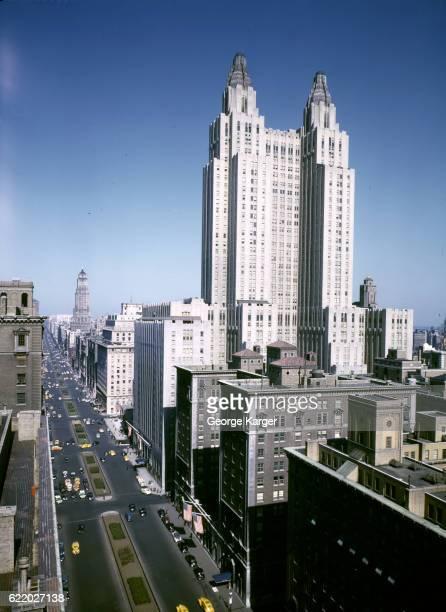 View of the Waldorf Astoria Hotel, New York, New York, 1941.