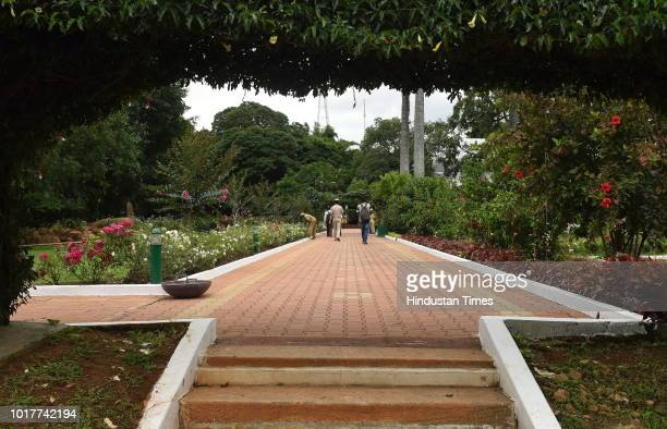 A view of the beautifully decorated gardens of Karnataka Raj Bhavan the residence of the state Governor on August 16 2018 in Bengaluru India The Raj...