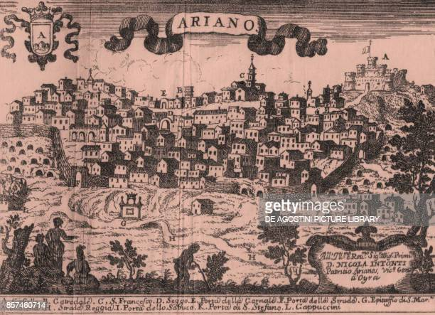 View of the walled city of Ariano Irpino o Ariano with the Norman Castle on the right Campania Italy etching ca 135x19 cm from Il Regno di Napoli in...