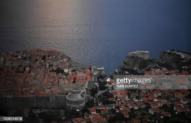 View of the walled Old Town of Dubrovnik in Croatia taken on September 1 2018