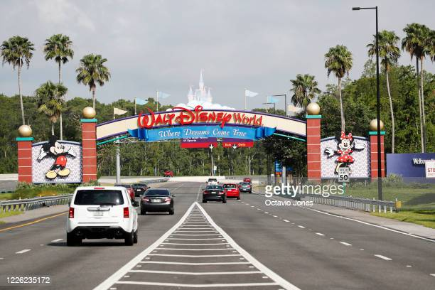 View of the Walt Disney World theme park entrance on July 11, 2020 in Lake Buena Vista, Florida. The theme park reopened despite a surge in new...