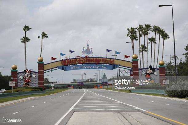 View of the Walt Disney World theme park entrance on July 8, 2020 in Lake Buena Vista, Florida. The theme park is scheduled to reopen on Saturday...