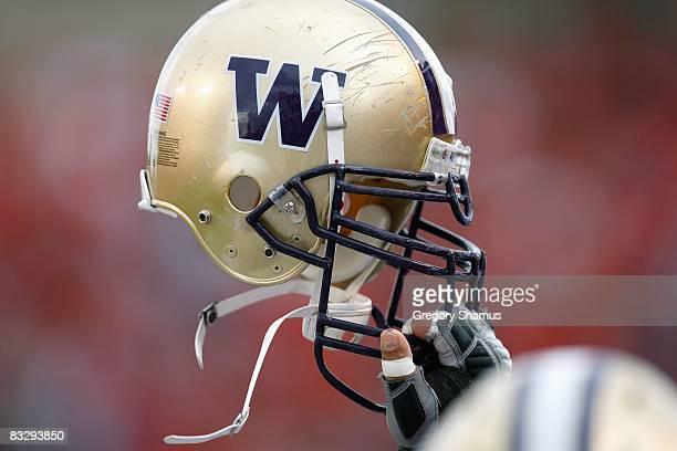 View of the Washington Huskies helmet taken during the game against the Arizona Wildcats on October 4, 2008 at Arizona Stadium in Tucson, Arizona.