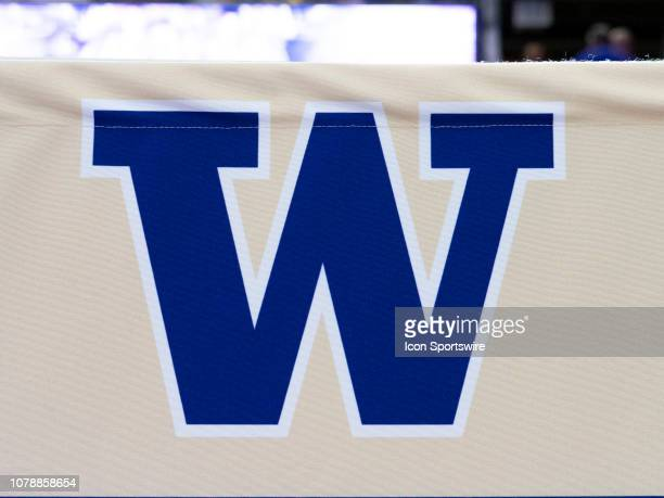 View of the Washington Huskies logo before a Boeing Apple Cup Series college basketball game between the Washington State Cougars against the...