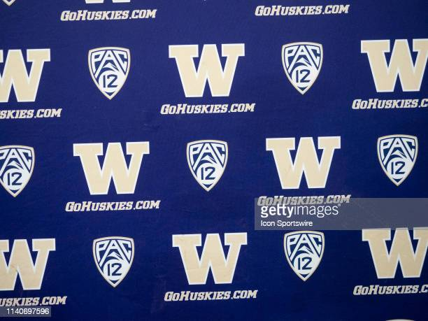 View of the Washington Huskies logo before the University of Washington Spring Game at Husky Stadium on Saturday, April 27, 2019 in Seattle, WA.