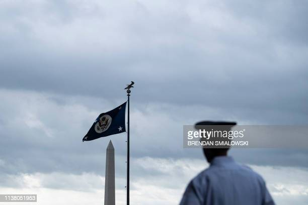 A view of the Washington Monument and the US Department of State's flag on April 19 in Washington DC