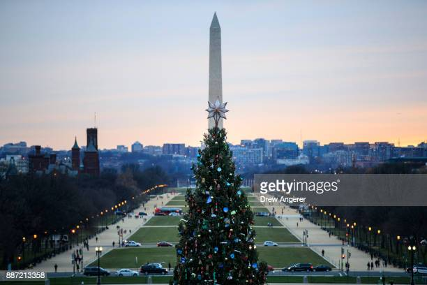View of the Washington Monument, National Mall and Capitol Christmas tree before the start of the U.S. Capitol Christmas Tree lighting ceremony on...