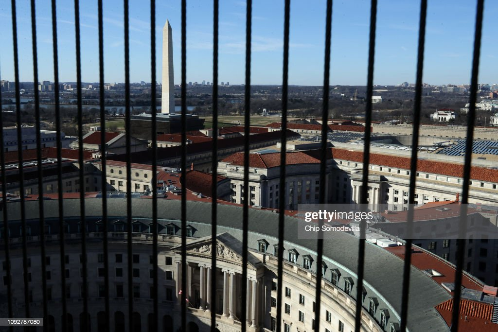 Clock Tower In Government Owned Old Post Office Building Housing Trump Hotel Remains Open During Shutdown : News Photo