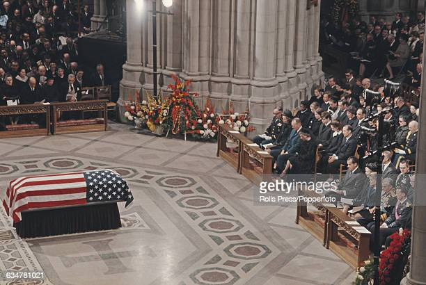 View of the Washington National Cathedral during the funeral service for former President of the United States Dwight D Eisenhower with the coffin...