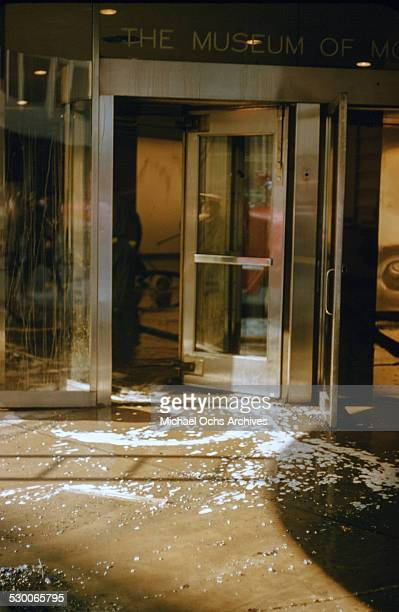 APRIL 151958 A view of the water draining out the front door after a fire broke out on the second floor of the Museum of Modern Art in New York NY