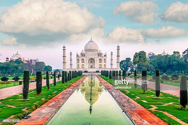 View of the water leading to the Taj Mahal in India