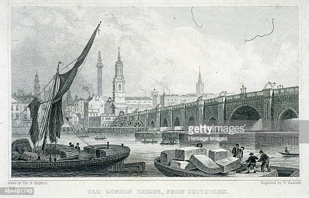 View of the Water Works on London Bridge London c1750 showing a rowing boat with three occupants observing the works