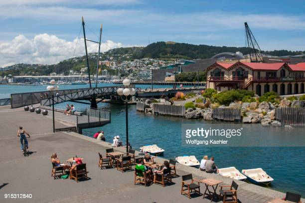 View of the waterfront at Lambton Harbor, part of Wellington Harbor, which is the large natural harbor of the capital city Wellington, located on the...