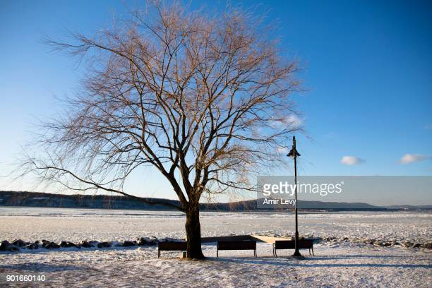 A view of the waterfront near the Hudson River on January 5 2018 in Dobbs Ferry New York Extreme low tempratures and wind are expected throghout the...