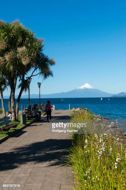 View of the waterfront of Puerto Varas with Lake Llanquihue and Mount Osorno in the Lake District near Puerto Montt Chile