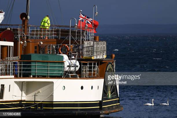A view of the Waverley paddle steamer moored at Brodick Harbour on September 4 2020 in Arran Scotland The Maritime and Coastguard Agency reported...