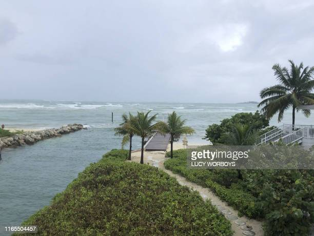 View of the waves near the beach during the approach of Hurricane Dorian on September 1, 2019 in Nassau, Bahamas. - Hurricane Dorian strengthened...
