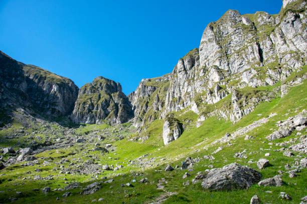 View of the way to Omu peak near Hornul Malaiesti pass, Bucegi mountains, Romania