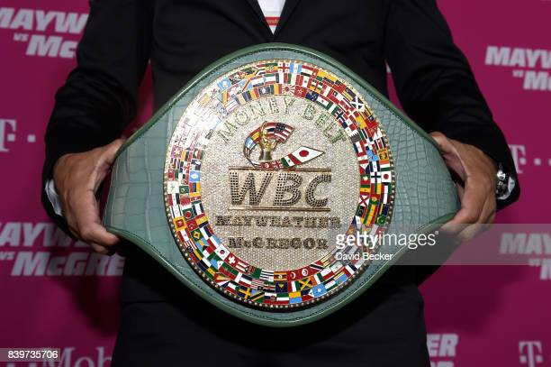 A view of the WBC Money Belt on TMobile's magenta carpet duirng the Showtime WME IME and Mayweather Promotions VIP PreFight Party for Mayweather vs...