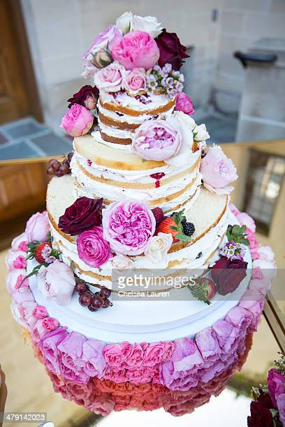 A view of the wedding cake at Nikki Sixx and Courtney Bingham's wedding at Greystone Mansion on March 15 2014 in Beverly Hills California