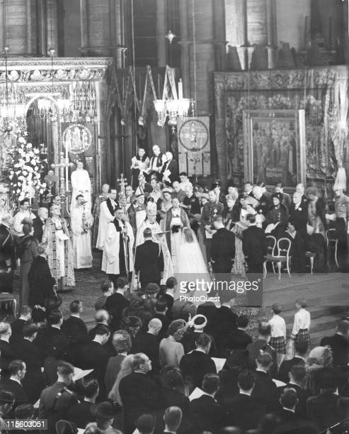 View of the wedding ceremony between thenPrincess Elizabeth and the Duke of Edinburgh in Westminster Abbey London England November 20 1947