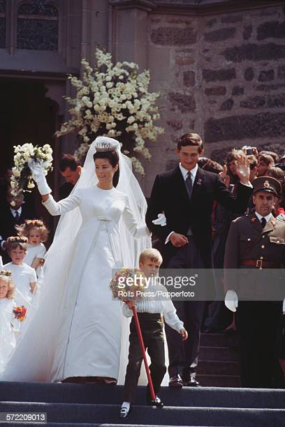 View of the wedding of Prince Hans-Adam, Prince of Liechtenstein and Countess Marie Aglae Kinsky von Wchinitz and Tettau at Vaduz Cathedral in...