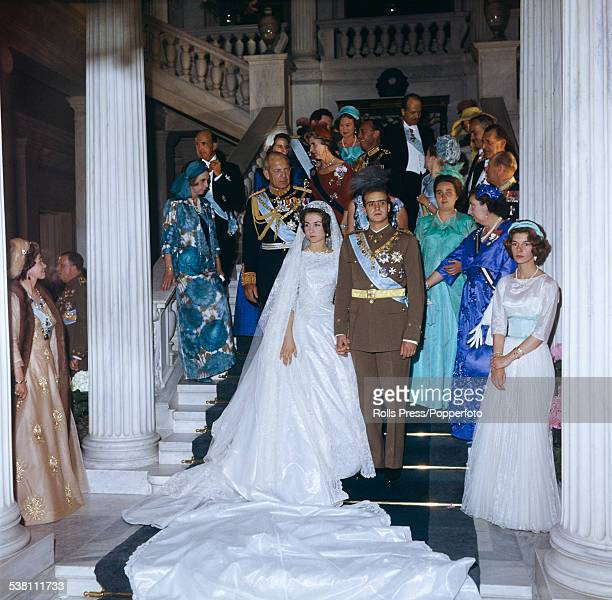 View of the wedding of Prince Juan Carlos future King of Spain and Princess Sofia of Greece and Denmark on the staircase of the Royal Palace in...