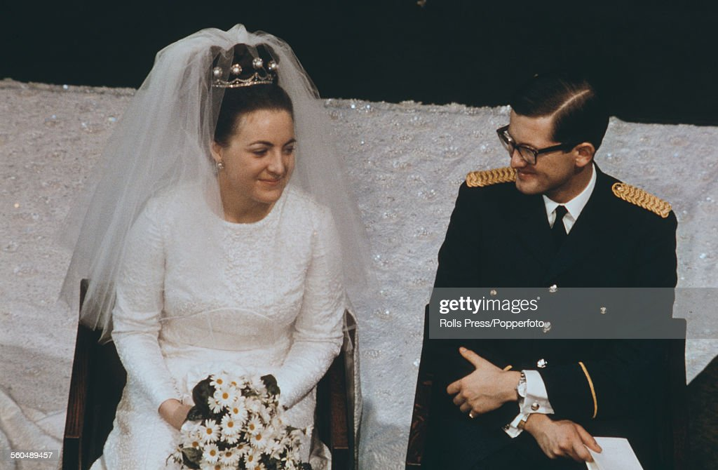 View of the wedding of Princess Margriet of the Netherlands and Pieter van Vollenhoven with the royal couple seated inside St. James Church in The Hague, Netherlands on 10th January 1967.
