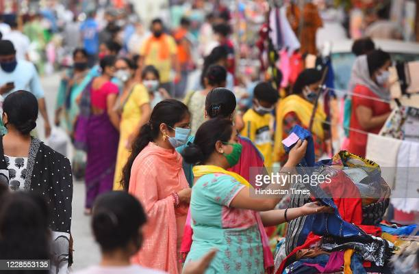 A view of the weekly market in Pandav Nagar on September 16 2020 in New Delhi India
