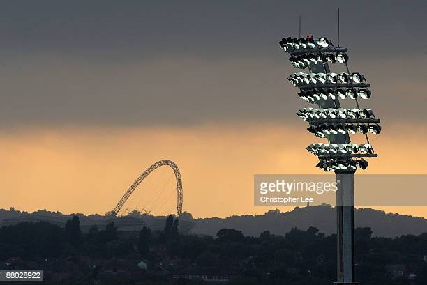 A view of the Wembley arch from Lord's Cricket Ground showing the new Telescopic Floodlights made by Abacus Lighting unveiled during the Twenty20...