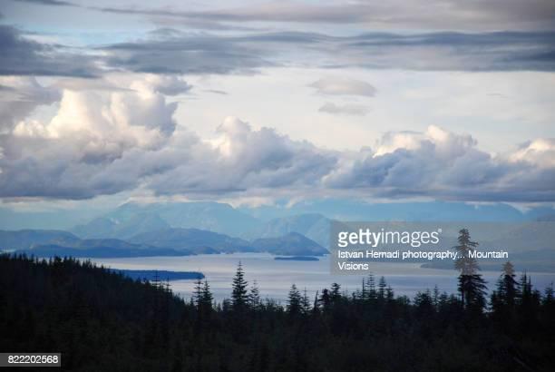 view of the west coast islands - britisch kolumbien stock-fotos und bilder
