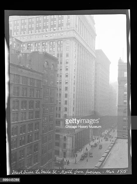 View of the west side of LaSalle Street north from Jackson Boulevard Chicago Illinois March 1915