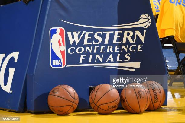 A view of the Western Conference Finals logo before the game between the San Antonio Spurs and the Golden State Warriors in Game One of the Western...