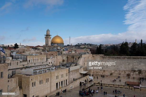 A view of the Western Wall and the golden Dome of the Rock Islamic shrine on December 6 2017 in Jerusalem Israel US President Donald Trump will...