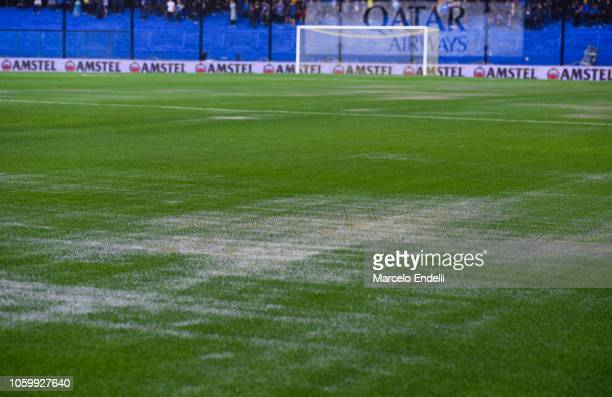 View of the wet pitch before the first leg match between Boca Juniors and River Plate as part of the Finals of Copa CONMEBOL Libertadores 2018 at...