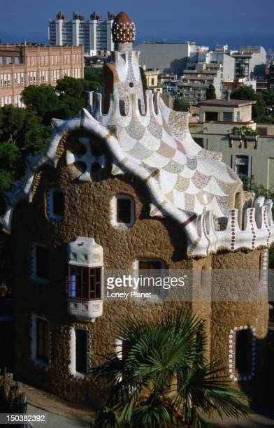 View of the whimsically designed house by Antoni Gaudi reminiscent of the Gingerbread house in the story of 'Hansel and Gretel' in the Park Guell, Barcelona.