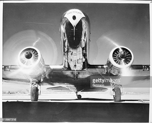 View of the whirling propellers of a passenger transport plane Undated photograph