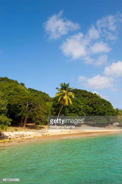 View of the white sand beach of Pigeon Island a small island off Saint Lucia island in the Caribbean