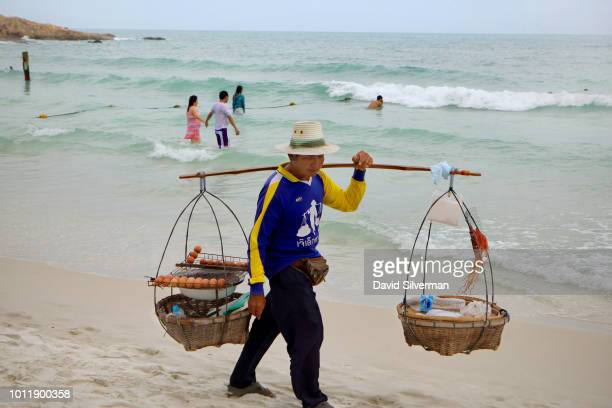 A view of the whitesand beach of Ao Prao Resort on July 26 2018 on Ko Samet Island in the Gulf of Thailand Ko Samet popular with foreign tourists and...