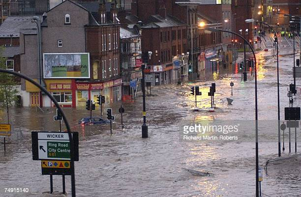 A view of the Wicker Town Centre after serious flooding on June 25 2007 in Sheffield England Much of Britain was under flood alert as heavy rain...