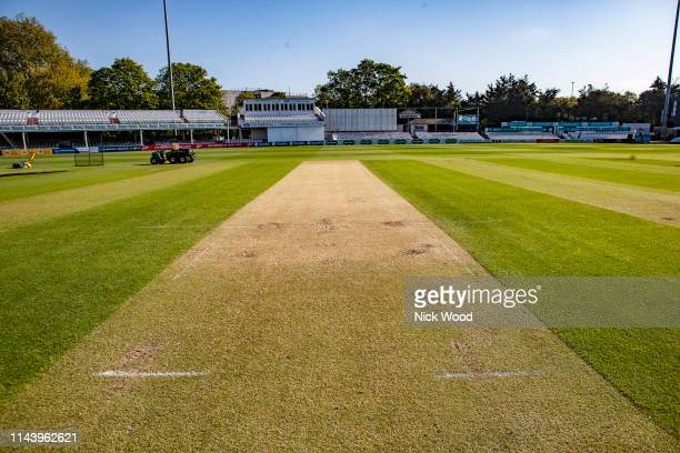 View of the wicket prior to the Specsavers County Championship Division One match between Essex and Nottinghamshire at Cloudfm County Ground on May...