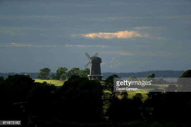 View of the windmill on teh National Golf Links of America seen from the clubhouse during the first round of the 2018 US Open at Shinnecock Hills...